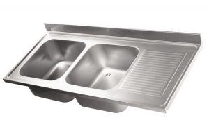 LV6025 Top 304 évier en acier inoxydable dim.1500X600 2Vp SG DXL