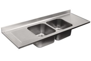 LV7060 Top 304 stainless steel sink dim.2100X700 2V 2SG