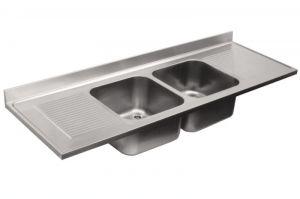 LV7063 Top 304 évier en acier inoxydable dim.2200X700 2V 2 SG