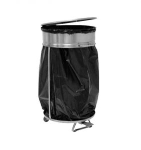 Dust-bin bag with pedal lid opening into steel
