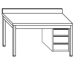 TL5113 mesa de trabajo en AISI 304, cajón de acero inoxidable de la pared posterior derecha 50x60x85
