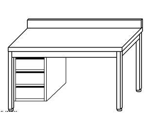 TL5129 mesa de trabajo en acero inoxidable AISI 304, cajón vertical sx 50x60x85