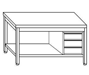 TL5257 mesa de trabajo en AISI 304, cajón de acero inoxidable estante derecho 50x70x85