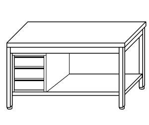 TL5273 mesa de trabajo en acero inoxidable AISI 304 dejó plataforma cajón 50x70x85