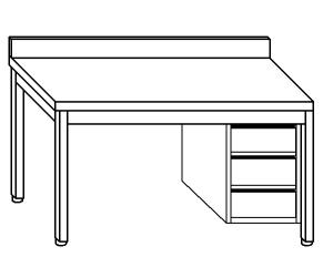 TL5305 mesa de trabajo en AISI 304, cajón de acero inoxidable de la pared posterior derecha 50x70x85