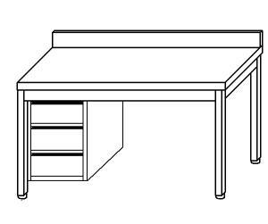TL5321 mesa de trabajo en acero inoxidable AISI 304, cajón vertical sx 50x70x85