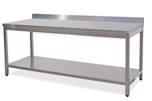 TL5337 Tavolo da lavoro in acciaio inox AISI 304 alzatina ripiano 50x70x85
