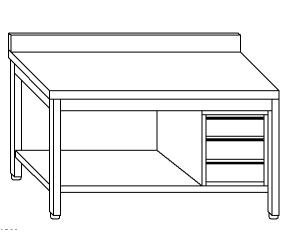 TL5353 mesa de trabajo en acero inoxidable AISI 304 backsplash cajón de la derecha plataforma 50x70x85
