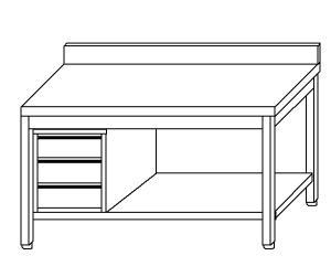 TL5369 mesa de trabajo en AISI 304, plataforma de acero inoxidable pared posterior izquierda del cajón 50x70x85