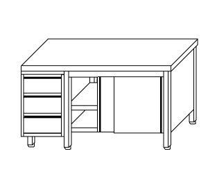 TA4025 armoire avec des portes en acier inoxydable d'un côté et les tiroirs SX