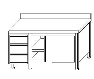 TA4060 armoire avec des portes en acier inoxydable d'un côté, les tiroirs et dosseret SX