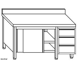 TA4119 Tavolo armadio in acciaio inox con porte su un lato, alzatina e cassettiera DX 140x70x85