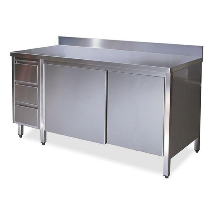 TA4130 Tavolo armadio in acciaio inox con porte su un lato e cassettiera SX sini