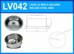 LV042 Lavello inox rotondo diam. 420 x 180 mm a saldare con piletta e sifone OMAGGIO