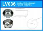 LV036 Lavello inox rotondo diam. 360 x 180 mm a saldare con piletta e sifone OMAGGIO
