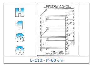 IN-1846911060B Scaffale a 4 ripiani lisci fissaggio a bullone dim cm 110x60x180h