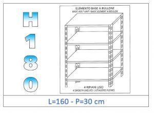 IN-1846916030B Scaffale a 4 ripiani lisci fissaggio a bullone dim cm 160x30x180h