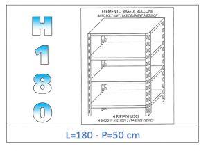 IN-1846918050B Scaffale a 4 ripiani lisci fissaggio a bullone dim cm 180x50x180h