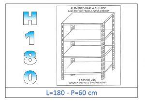 IN-1846918060B Scaffale a 4 ripiani lisci fissaggio a bullone dim cm 180x60x180h