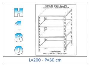 IN-1846920030B Scaffale a 4 ripiani lisci fissaggio a bullone dim cm 200x30x180h