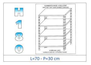 IN-184697030B Scaffale a 4 ripiani lisci fissaggio a bullone dim cm 70x30x180h