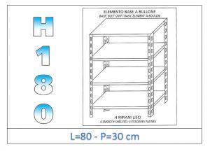 IN-184698030B Scaffale a 4 ripiani lisci fissaggio a bullone dim cm 80x30x180h