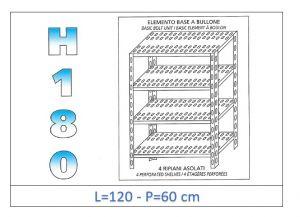 IN-1847012060B Scaffale a 4 ripiani asolati fissaggio a bullone dim cm 120x60x180h
