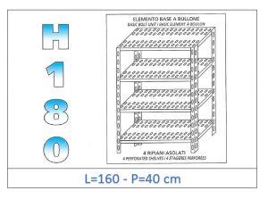 IN-1847016040B Scaffale a 4 ripiani asolati fissaggio a bullone dim cm 160x40x180h