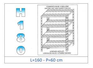 IN-1847016060B Scaffale a 4 ripiani asolati fissaggio a bullone dim cm 160x60x180h