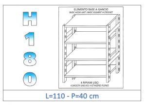 IN-18G46911040B Scaffale a 4 ripiani lisci fissaggio a gancio dim cm  110x40x180h