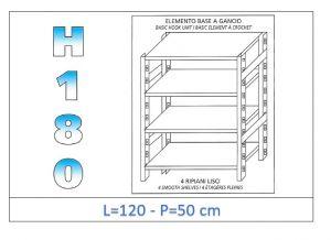 IN-18G46912050B Scaffale a 4 ripiani lisci fissaggio a gancio dim cm 120x50x180h