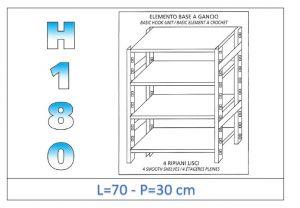IN-18G4697030B Scaffale a 4 ripiani lisci fissaggio a gancio dim cm 70x30x180h