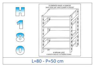 IN-18G4698050B Scaffale a 4 ripiani lisci fissaggio a gancio dim cm  80x50x180h