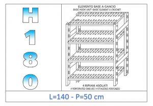 IN-18G47014050B Scaffale a 4 ripiani asolati fissaggio a gancio dim cm 140x50x180h