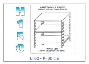 IN-B3696030B Étagère avec 3 étagères lisses fixation par boulon dim cm 60x30x150h