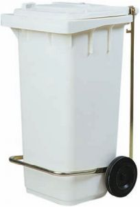 AV4674 Poubelle blanche 2 roues 100 liters Optional pedale
