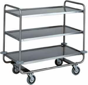 CA 1431 Stainless steel trolley tubolar 3 floors 110x60x100h