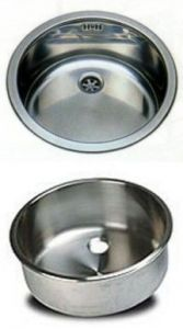 LV038 / A round stainless steel sink for the bar diameter. 380 x 180 mm with waste collection