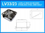 LV33/23 rectangular stainless steel sink for the bar diameter. 335 x 235 mm with waste collection