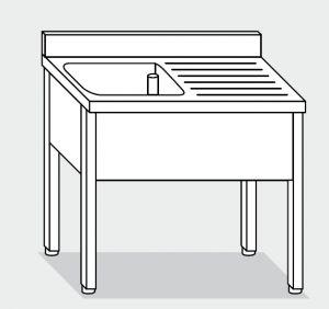 LT1090 lavado de las patas de acero inoxidable de un tazón de fuente un derecho escurridor backsplash 100x70x85