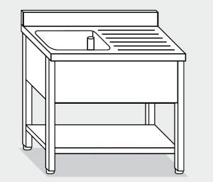 LT1121 lavado en una silla con tapa de acero inoxidable de un recipiente un escurridor derecha plataforma backsplash 100