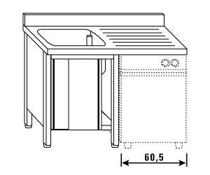LT1180 lavado lavaplatos en un gabinete de pared posterior recipiente escurridor derecha deslizante 140x60x85