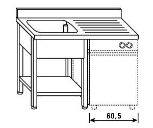 LT1196 Lavatoio su gambe e ripiano per lavastoviglie 1 vasca 1 sgocciolatoio dx alzatina ripiano 120x60x85