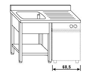LT1206 Lavatoio su gambe e ripiano per lavastoviglie 1 vasca 1 sgocciolatoio dx alzatina ripiano 120x70x85