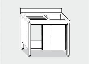LT1007 Lave Gabinete en un recipiente de acero inoxidable 1 escurridor a la izquierda la pared posterior 140x60x85