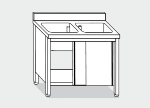 LT1009 Lave Gabinete en un escurridor tazón de acero inoxidable 2 derecho backsplash 120x60x85