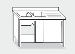 LT1013 Lavatoio su Armadio in acciaio inox 2 vasche 1 sgocciolatoio dx alzatina 160x60x85