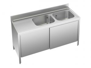 EU01612-14 lavatoio armadio ECO cm 140x60x85h  2 vasche e sg sx - porte scorrevoli