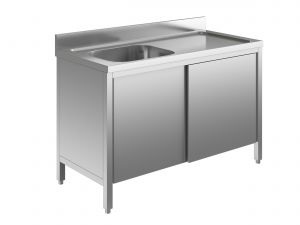 EU01701-13 lavatoio armadio ECO cm 130x70x85h  1 vasca e sg dx - porte scorrevoli