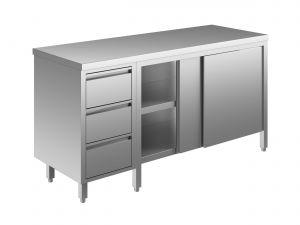 EU04002-22 tavolo armadio ECO cm 220x60x85h  piano liscio - porte scorr - cass 3c sx